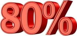 80% in big red symbols